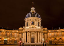 France Institut in Paris at night Royalty Free Stock Images