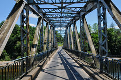 France, iron bridge of Lacave in Lot Stock Photography