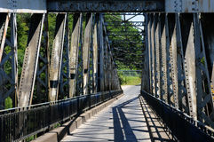 France, iron bridge of Lacave in Lot Stock Images