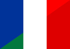 France italy flag. France italy neighbour countries half flag symbol Royalty Free Stock Photo