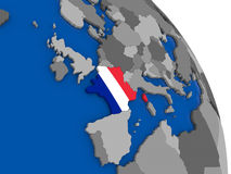France and its flag on globe Stock Photo