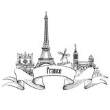France label. Famous french architectural landmarks. Visit Franc Royalty Free Stock Photography