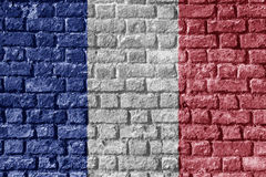 France lag Painted on brick wall nice Stock Images