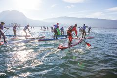 19.01.2019 - France Lake Annecy GlaGla Race 2019. SUP racers are participating in sport event. Lake Annecy in Franch stock photography