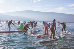 19.01.2019 - France Lake Annecy GlaGla Race 2019. SUP racers are participating in sport event. Lake Annecy in Franch stock images