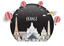 Free France Landmark Global Travel And Journey Paper Background. Vector Design Template.used For Your Advertisement, Book, Banner, Royalty Free Stock Photos - 141605908