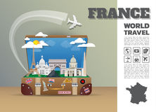 France Landmark Global Travel And Journey Infographic luggage. 3D Design Vector Template.vector/illustration. can be used for your business, advertisement or Stock Images