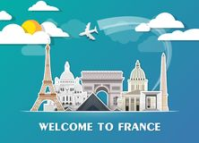 France Landmark Global Travel And Journey paper background. Vect. Or Design Template.used for your advertisement, book, banner, template, travel business or Royalty Free Stock Photos