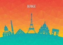 France Landmark Global Travel And Journey paper background. Vect. Or Design Template.used for your advertisement, book, banner, template, travel business or Royalty Free Stock Images