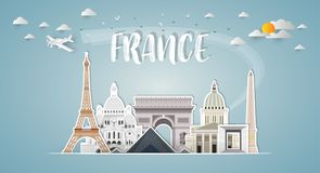 France Landmark Global Travel And Journey paper background. Vector Design Template.used for your. Advertisement, book, banner, template, travel business or royalty free illustration