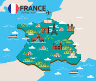 France landmark and travel map. Flat design elements and icons. vector illustration Stock Photos