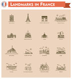 France landmarks icon set Stock Images