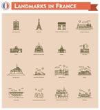 France landmarks icon set Stock Images
