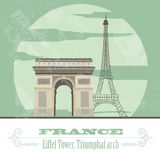 France landmarks. Retro styled image Royalty Free Stock Photo