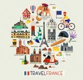 France Landmarks and Travel Map. France Travel Icons. Vector Illustration. France Travel Icons. France Landmarks. Vector Illustration Royalty Free Stock Photo