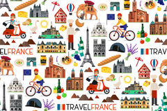 France Landmarks and Travel Map. Vector Illustration. Royalty Free Stock Photo