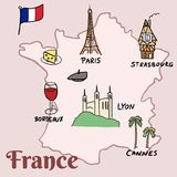 France landmarks. Vector map - Paris, Lyon, Cannes, Strasbourg, cheese, wine and beret Royalty Free Stock Photography