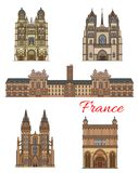 France landmarks vector travel buildings icons. France travel famous landmark buildings and sightseeing architecture facades icons. Vector set St Michael church Royalty Free Stock Photo
