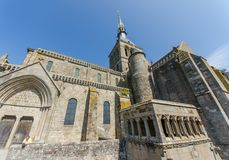 FRANCE LE MONT SAINT MICHEL 26 AUG: view of the church on the top of hill of le mont saint michel on 26 August 2013. It is one of stock image