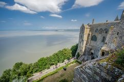FRANCE LE MONT SAINT MICHEL 26 AUG: view surrounding of the church on the top of hill of le mont saint michel on 26 August 2013. stock photography