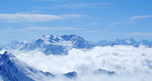 France, Les Arcs. Les Arcs is a ski resort located in Savoie, France, above the Tarentaise town of Bourg-Saint-Maurice Royalty Free Stock Photos