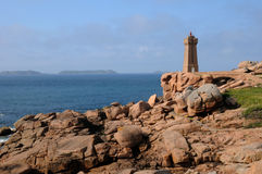 Lighthouse of Ploumanach in Brittany Royalty Free Stock Photos