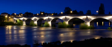 France, Loire Valley, Amboise, bridge over Loire river Stock Images