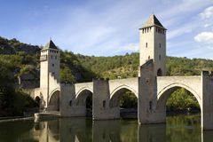 France, Lot, Cahors, historic Pont Valentre fortified bridge. Europe, France, Midi Pyrenees, Lot, Cahors, the historic Pont Valentre fortified bridge across the Stock Photo