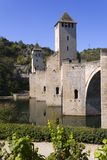 France, Lot, Cahors, historic Pont Valentre fortified bridge. Europe, France, Midi Pyrenees, Lot, the historic Pont Valentre fortified bridge over the Lot River Royalty Free Stock Images