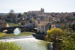 France, Lot et Garonne, Nérac, its church and its old bridge. Royalty Free Stock Photo