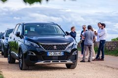 Free France Lyon 2019-06-21 Closeup Luxury Car Dark Blue Jeep Premium Peugeot 3008 With EU Registration Number And Many People Near. Royalty Free Stock Photos - 154788868