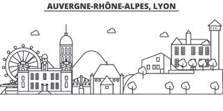 France, Lyon architecture line skyline illustration. Linear vector cityscape with famous landmarks, city sights, design Royalty Free Stock Images