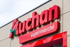 France Lyon 2019-06-18 Auchan supermarket logo. Auchan is a French international retail group and It is one of world\'s principal