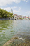 France, Lyon - August 3, 2013: View of the embankment of Lyon. Royalty Free Stock Photos