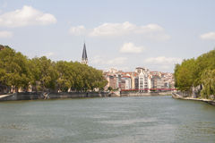France, Lyon - August 3, 2013: View of the quay and Notre Dame L Stock Photography