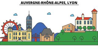 France, Lyon, Auvergne Rhone Alpes . City skyline architecture, buildings, streets, silhouette, landscape, panorama. Landmarks Editable strokes Flat design line Stock Photos