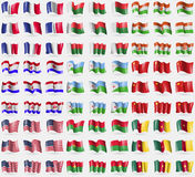 France, Madagascar, Niger, Mordovia, Djibouti, China, USA, Burkia Faso, Cameroon. Big set of 81 flags. Royalty Free Stock Image