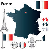 France map. Vector set of France country shape with flags and icons isolated on white background Royalty Free Stock Photography