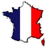 France Map. France Covered in French Flag Stock Photography