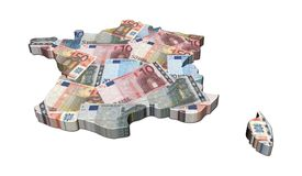 France map 3d render with euros Stock Images