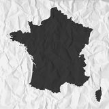 France map in black on a background crumpled paper Stock Image