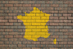 France map on brick wall Royalty Free Stock Photography