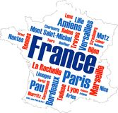 France Map and Cities. France map and words cloud with larger cities stock illustration