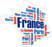 France Map and Cities royalty free illustration