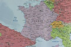 France map closeup. France map closeup with a larger Europe map Royalty Free Stock Image