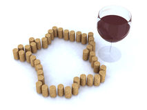 France map with cork and glass of wine Stock Image