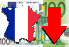 France map on Euro money background and red arrow down Royalty Free Stock Images