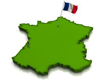 France - Map and Flag. 3D render of the map of France and the french flag Royalty Free Stock Images