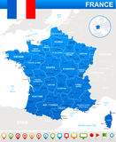 France map, flag and navigation icons - illustration. Royalty Free Stock Image