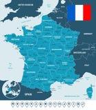 France map, flag and navigation labels - illustration. Stock Image